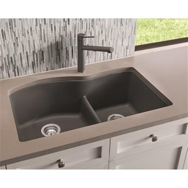 Blanco Diamond Gray 20.75-in x 32-in Low Divide Double Basin Sink