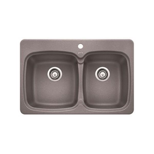 Blanco Vienna Gray 20.75-in x 31.50-in Double Basin Sink