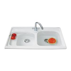 "Acri-tec Industries Prestige Double Kitchen Sink - 21"" x 32"" - Acrylic - White"