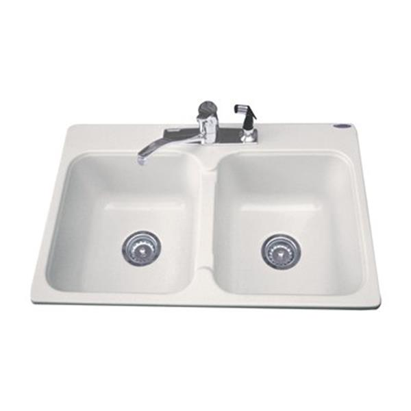 "Acri-tec Industries Dynasty Double Basin Kitchen Sink - 21"" x 32"" x 8"" - Acrylic"