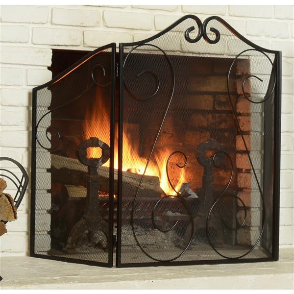 ShelterLogic Fireplace Scrollwork Screen - Black