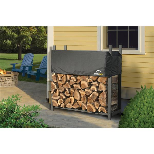 ShelterLogic Ultra Duty Firewood Rack with Cover - 4-ft - Black