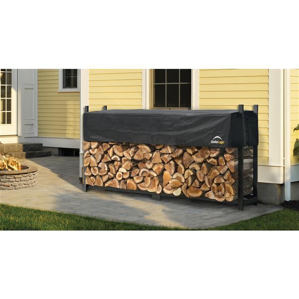 ShelterLogic Ultra Duty Firewood Rack with Cover - Black