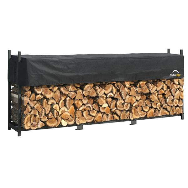 ShelterLogic Ultra Duty Firewood Rack with Cover - Black