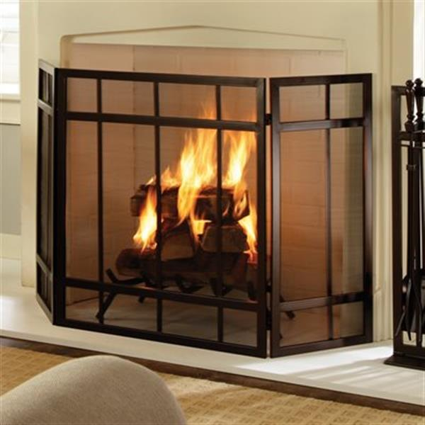 Pleasant Hearth 54-in x 31.50-in Black Mission Style Fireplace Screen