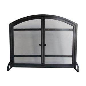 Pleasant Hearth 39-in x 31-in Black Fireplace Screen With Doors