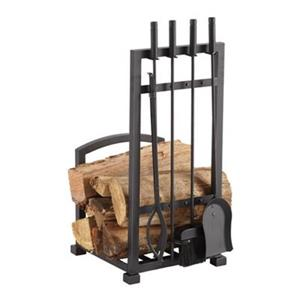 Pleasant Hearth Harper Log Holder with 4-Piece Toolset