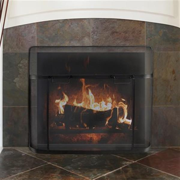 Pleasant Hearth 39-in x 31-in Black Fireplace Screen Guard