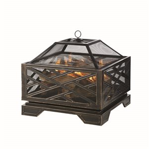 Pleasant Hearth Martin Fire Pit - 26-in - Steel - Rubbed Bronze