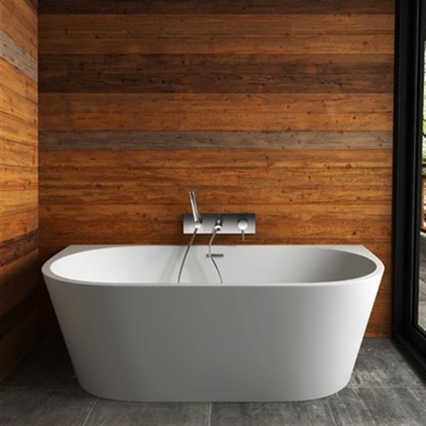 Acri-tec Industries Rochelle Opulence Freestanding Bathtub- 67 -in- Acrylic - White