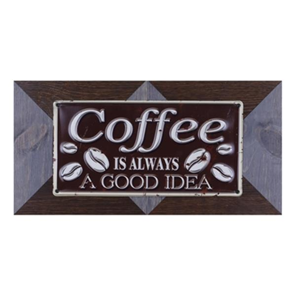 ArtMaison Canada Coffee Good Idea 11.25-in x 22.25-in Metal and Wood Art
