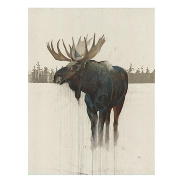 ArtMaison Canada Golden Moose 48-in x 32-in Canvas Art