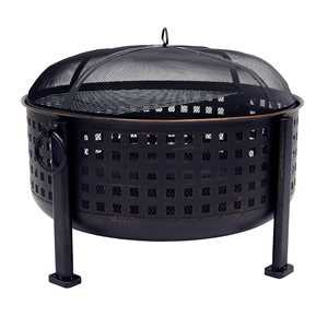 Pleasant Hearth Langston Deep Bowl Fire Pit - 30-in - Rubbed Bronze