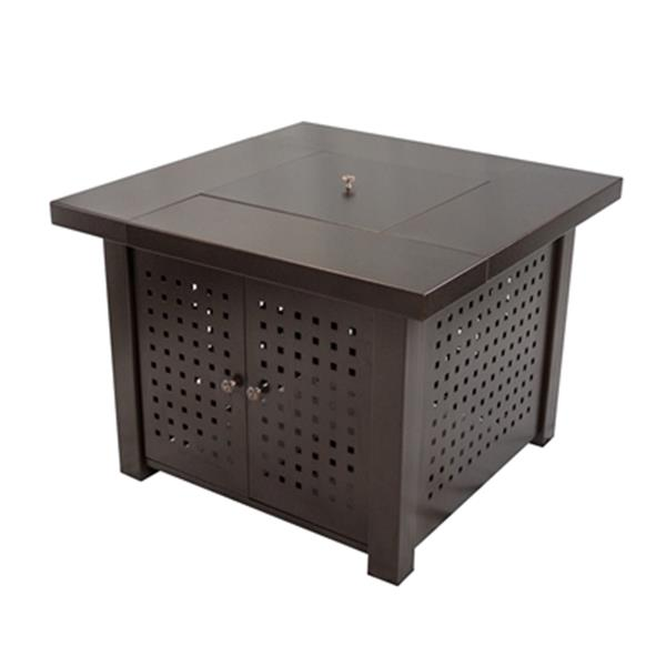 "Table-foyer carrée Eden au gaz, 38"", bronze"