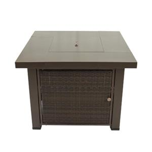 Pleasant Hearth Rio Square Wicker Gas Fire Pit Table