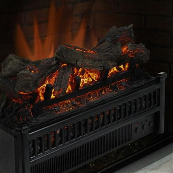 Pleasant Hearth Black Electric Fire Log with Heater