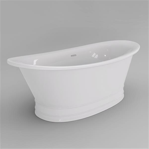 Acri-tec Industries Sansa 69-in x 31.12-in White Seamless Freestanding Acrylic Bathtub