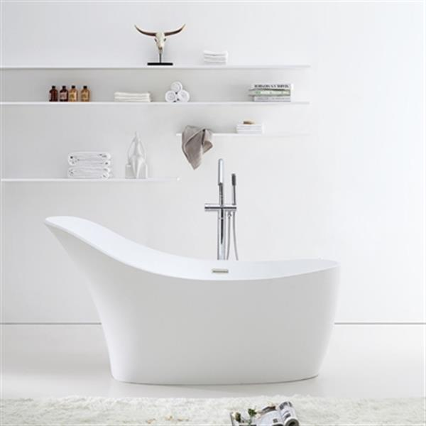 Acri-tec Industries Bianca 67-in x 29-in White Seamless Freestanding Acrylic Bathtub