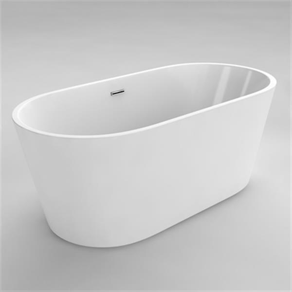 "Baignoire autoportante Monaco, 54"", acrylique, blanc"