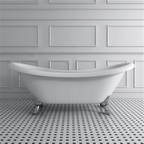 Acri-tec Industries Rhapsody 69-in x 28.25-in White with Brushed Nickel Clawfoot Bath