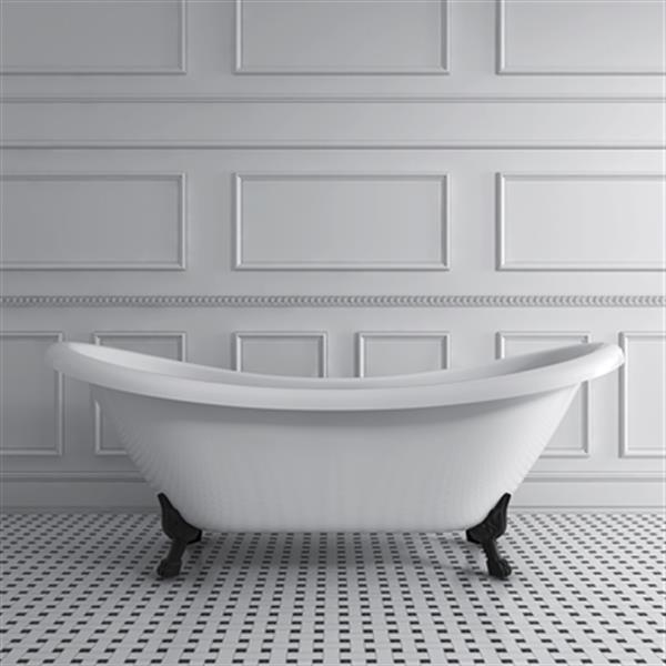 Acri-tec Industries Rhapsody 69-in x 28.25-in White with Black Clawfoot Bath