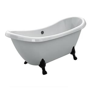 Acri-tec Industries Rhapsody 69-in x 28.25-in White with Black Clawfoot Bath