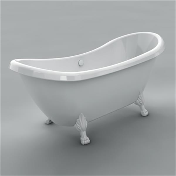 """Acri-tec Industries Rhapsody Clawfoot Bathtub - 69"""" x 28.3"""" - Acrylic - White"""