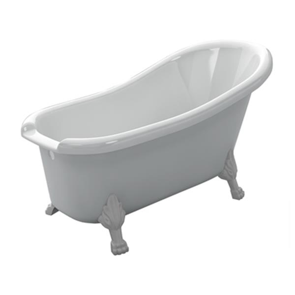 "Acri-tec Industries Victorian Clawfoot Bathtub - 61"" - Acrylic - White"