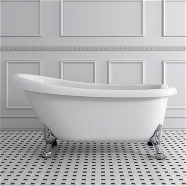 Acri-tec Industries Victorian 67-in x 28.75-in White with Chrome Clawfoot Bath