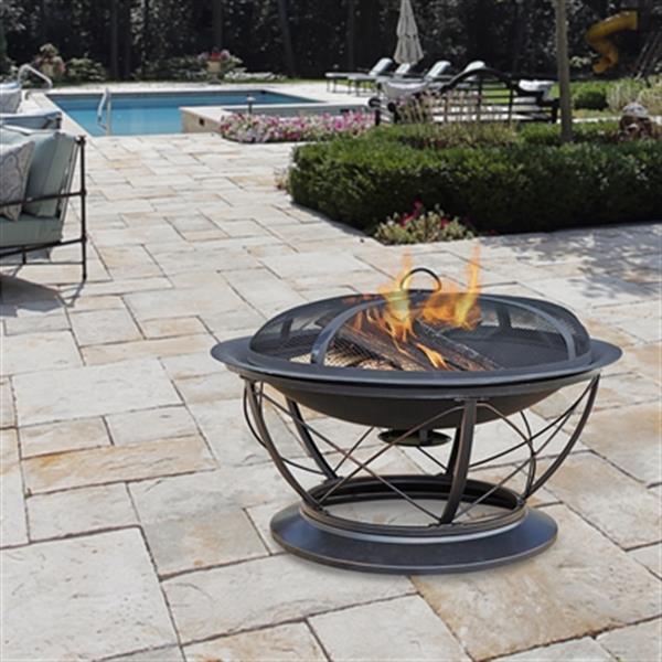 Pleasant Hearth Palmetto Fire Pit - Steel - Rubbed Bronze
