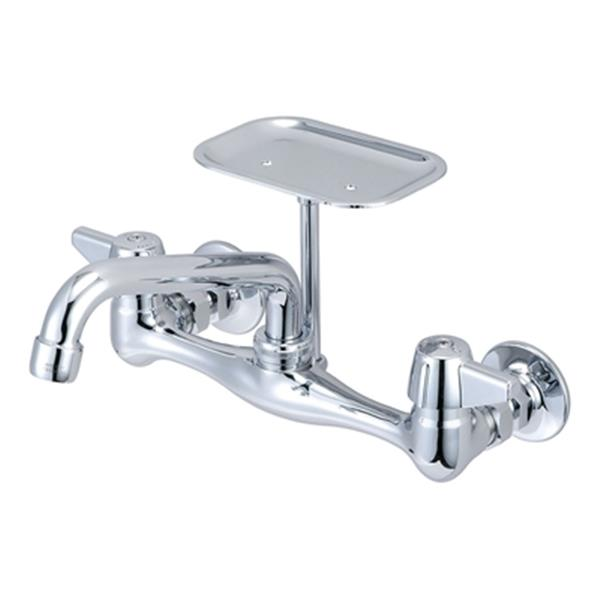 Central Brass Wallmount Chrome Kitchen Faucet With Soap Dish