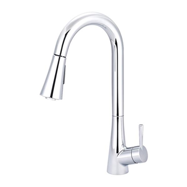 Olympia Faucet Single Handle Pull-Down Polished Chrome Kitchen Faucet