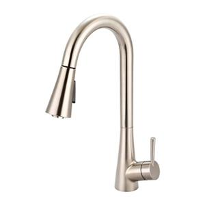 Olympia Single Handle Pull-Down Brushed Nickel Kitchen Faucet