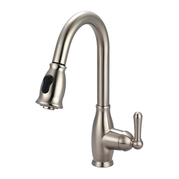 Olympia Faucet Accent Single Handle Pull-Down Brushed Nickel Kitchen Faucet