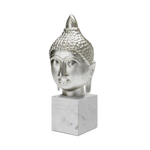 Home Gear Aluminum and Marble Buddha Sculpture