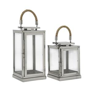 Home Gear Beluga Silver Lantern (Set of 2)