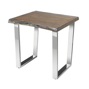 Home Gear Organic Brown Natural Acacia/Polished Steel Side Table
