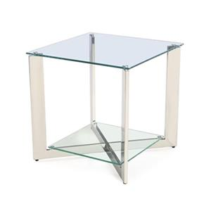 Home Gear Silver Polished Steel End Table