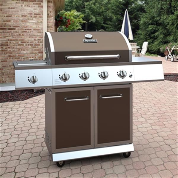 Barbecue au gaz à 4 brûleurs avec brûleur latéral, bronze