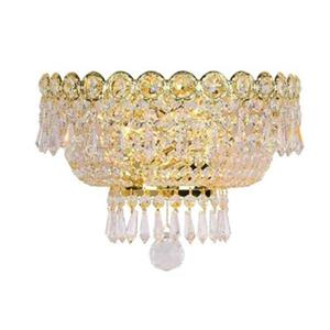 Worldwide Lighting Empire Collection Gold Crystal 2-Light Wall Sconce