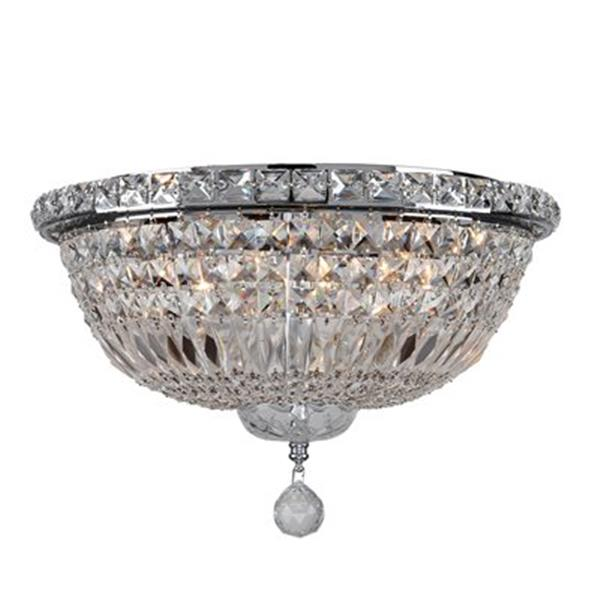 Worldwide Lighting Empire Polished Chrome Crystal Flush Mount Ceiling Light