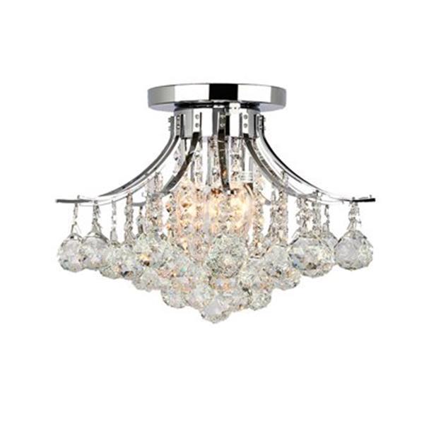 Worldwide Lighting Empire 3-Light Polished Chrome Semi Flush Ceiling Light