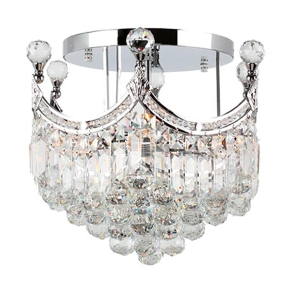 Worldwide Lighting Empire Polished Chrome Semi Flush Ceiling Light