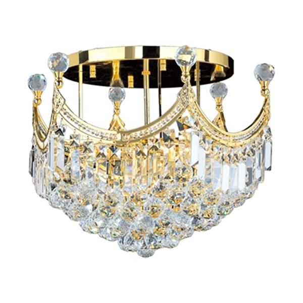 Worldwide Lighting Empire Polished Gold Semi Flush Ceiling Light
