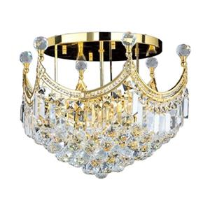 Worldwide Lighting Empire Polished Gold Semi Flush Ceiling Light