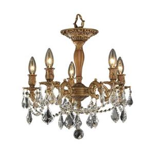 Worldwide Lighting Windsor 5-Light French Gold Semi Flush Mount Chandelier
