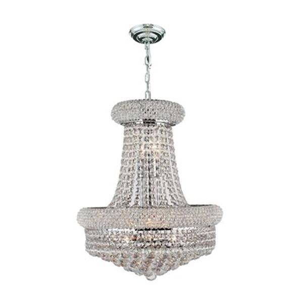 Worldwide Lighting Polished Chrome Empire Crystal Chandelier