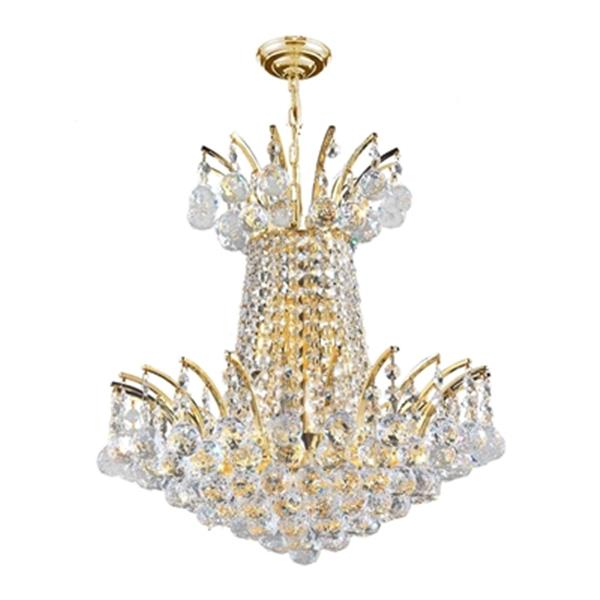 Worldwide Lighting Empire Gold Crystal Chandelier
