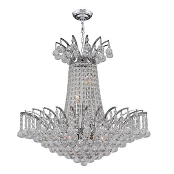 Worldwide Lighting Empire Polished Chrome Crystal Chandelier