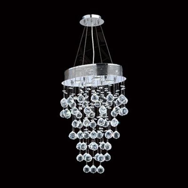 Worldwide Lighting Icicle 4-Light Polished Chrome Crystal Oval Pendant Light